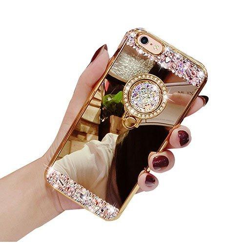 Auroralove iPhone 8 Plus Luxury Rhinestone Makeup Case, iPhone 8 Plus Handmade Bling Diamond Soft TPU Mirror Glass Case for Girls Women with Detachable Ring Stand-Gold