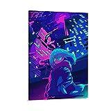 Anime Neon-Blau, ästhetisches 4K-Kunst-Poster auf