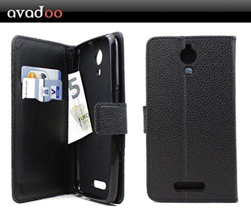 avadoo® Archos 50 Power Flip Case Cover Tasche Schwarz mit Magnetverschluss & Dualnaht als Cover Tasche Hülle