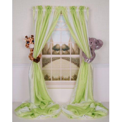 Curtain Critters Plush Jungle Safari Giraffe and Elephant Curtain Tieback, Car Seat, Stroller, Crib Toys Collector Set