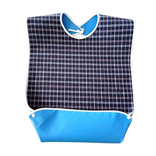 Erwachsene Lätzchen, Lätzchen für Senioren Waschbarer Sabberlätzchen Kleiderschutz für Männer, Frauen, ältere Menschen und Behinderte, Dunkelblau