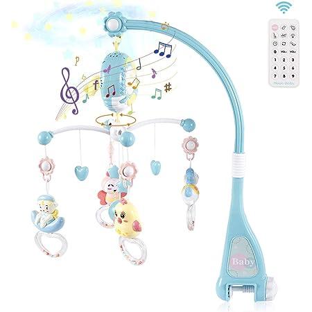 Strategy ベッドメリー ベビーベッドおもちゃ 赤ちゃんメリー ベッドオルゴール 360回転 音楽 投影 リモコン付 新生児 おもちゃ 知育寝具 簡単に眠り 出産祝い(ブルー)