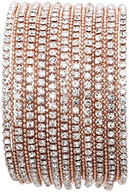 Rosemarie Collections Women s 11 Strand Rhinestone Statement Bracelet Rose Gold product image