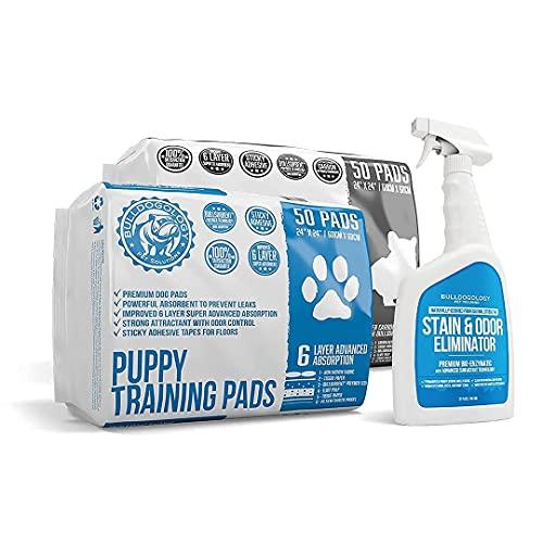 Bulldogology Premium Puppy Training Pee Pads Bundle Kit (Large, 2X 50-Count, 32 oz. Stain & Odor)