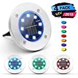 Nicewell Solar Ground Lights Outdoor 4 Pack Colored Disk Lights Waterproof Inground Landscape Lighting for Garden Yard Deck Lawn Patio Walkway Driveway Pathway with Multi Changing Colors