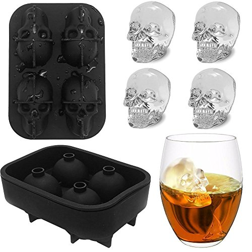 3D Stereo - Bandeja para cubitos de hielo, 4 huecos, bandeja de grado alimenticio, moldes de calaveras para whisky, cócteles, helados de dulces y chocolate talla única negro