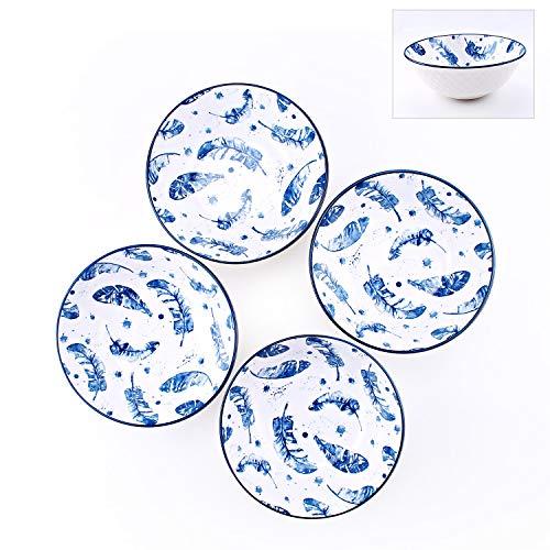 YALONG 40-Ounce Large Porcelain Soup Pho Serving Bowls Set, Serves Salad, Pasta, Feather Pattern Stackable Deep Bowl Set of 4 Blue and White Color