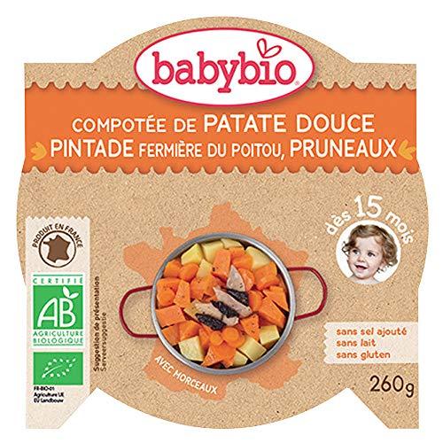 Babybio - Compotée de Patate Douce Pintade Fermière du Poitou & Pruneaux (dés 15mois)