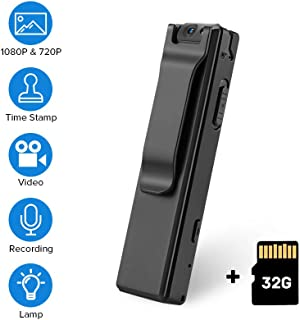 BOBLOV 1080P Mini Body Cameras with Audio Wearable Video Recorder Back Clip Easy to Operate for Teaching/Tour/Lecture/Interview/Baby Monitor Record (with 32G Card)