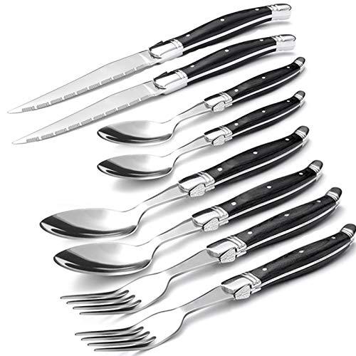 JWWLLT 24pcs Steak Knives Fork Wood Cutlery Japanese Dinner Knife and Forks Stainless Steel Wooden Dinnerware Tableware (Color : 2set)