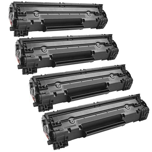 Toppack 4 cartuchos de tóner compatibles con HP 36a, color negro