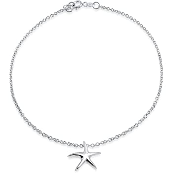 Nautical Starfish Beach Sea Life Charm Anklet For Women Link Ankle Bracelet For Women 925 Sterling Silver 9 Inch