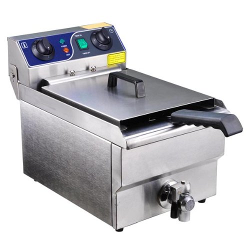 Commercial Grade 430 Stainless Steel Construction Single Tank Restaurant Deep Fryer with Timer and Heavy Duty Copper Oil Releasing Faucet