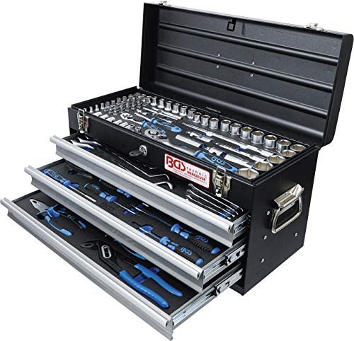 BGS 3318 | Metall-Werkzeugkoffer | mit 143 Werkzeugen | 3 Schubladen | mit Werkzeug gefüllt - 5