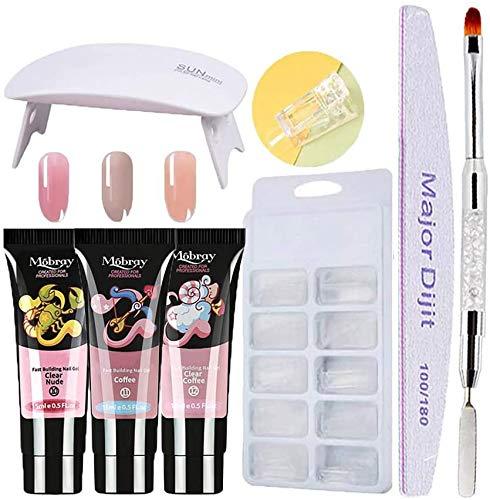 kit uñas de gel completo,3 colores Gel Uñas rápido+Lámpara de uñas UV...