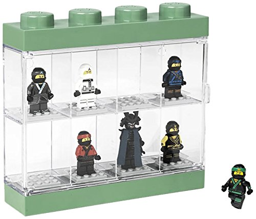 LEGO LEGO-4065 Caja expositora para 8 Minifiguras Ninjago Movie, Contenedor apilable para Pared o Escritorio, Verde, Color, 19.1 x 4.7 x 18.4 cm (40651741)