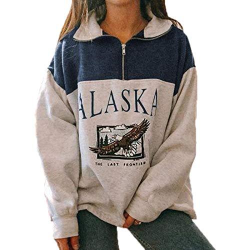 Mujeres Alaska Letter Print Graphic Pullover Sudaderas de Manga Larga Hip Hop Jumper Zipper Top