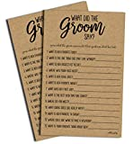 What Did the Groom Say Game - Kraft (50-Sheets) Rustic Bridal Wedding Shower or Bachelorette Party Game, Printed Engagement Rehearsal (Large Size Sheets)