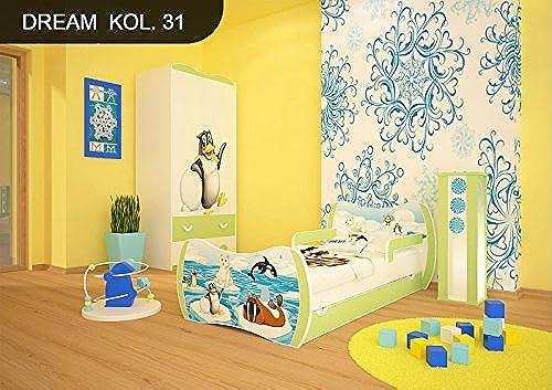 DM Kinderbett Grün mit Matratze Bettkasten und Lattenrost für Jungen mädchen (180x90cm  , DM31 WINTER-TIERE)