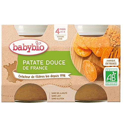 Babybio - Petits Pots Patate Douce 2x130 g - 4+ Mois - BIO - Lot de 3