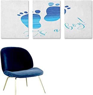 It`s a Boy Canvas Pictures Baby Gender Reveal Concept Illustration Footprints with Sea Inspired Design Modern Decorative Artwork 3 Panels 24x35inch Blue and White
