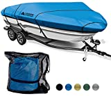 Leader Accessories 600D Waterproof Trailerable Runabout Boat Cover Fit V-Hull Tri-Hull Fishing Ski Pro-Style Bass Boats, Full Size (Ocean Blue, Model F: 22'-24'L Beam Width up to 116'')