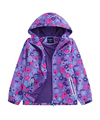 M2C Girls Outdoor Floral Fleece Lined Light Windproof Jacket with Hood 6/7 Violet