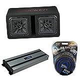 Kicker 45DL7R122 Car Audio L7R Solobaric L7 Dual 12' Vented Sub Box Bundle with Harmony HA-A1500.1 Amplifier & Amp Kit