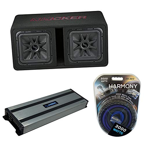 "Kicker 45DL7R122 Car Audio L7R Solobaric L7 Dual 12"" Vented Sub Box Bundle with Harmony HA-A1500.1 Amplifier & Amp Kit"