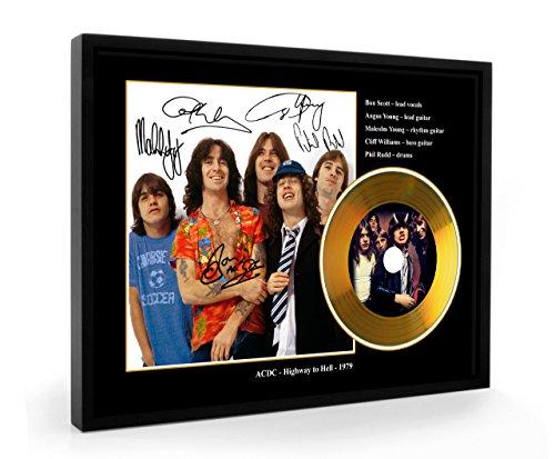 We Love Guitars ACDC Bon Scott Highway to Hell Replica gerahmte CD Gold Disc (B)