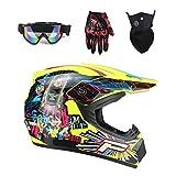 DOT Certified Adult Dirt Bike Helmet for Men Women, Lightweight Off Road ATV UTV Motocross Helmet with Goggles Neck Gaiter Gloves, Downhill MX MTB BMX Four Wheeler Helmet,Yellow 2,L