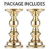 Wedecor Kerzenhalter für Stumpenkerzen, Metall, goldfarben, 2 Stück Fit 50mm Dia Canlde 15cm H - 5