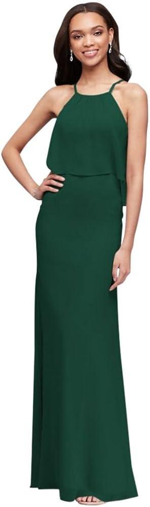 Davids Bridal Flounced Crinkle Chiffon Sheath Bridesmaid Dress Style F19773