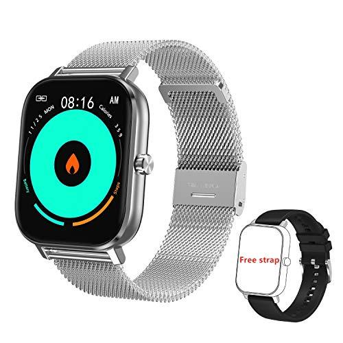 Voigoo Smartwatch(2021 Nuovo,Chiamata Bluetooth) Orologio Fitness Donna Uomo Smart Watch Contapassi Cardiofrequenzimetro da Polso ECG Orologio Sportivo Activity Tracker Cronometro per iOS Android