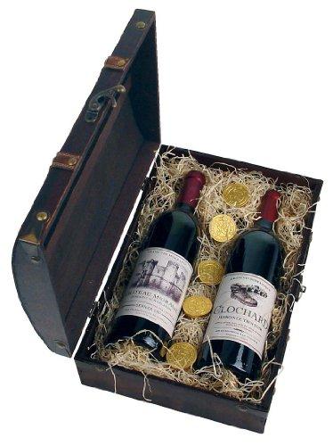 Schatzkiste Vino Veritas mit 2 französischen Goldmedaillenweinen inkl. humoristisch satirischen Frontetiketten
