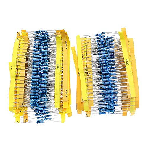 QIANGQRFV Condensadores 1000pcs 1% 1 / 2W 0.5W Resistor de película de Metal 50 valores Kit Surtido 0.1 Ohm ~ 4.7m Capacitor Ohm