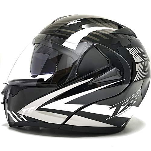 Casco Protector de Motocicleta,Casco Integral para Motocicleta Doble Lente Certificado ECE Estaciones Casco Protector para Carreras de Motos Carretera B,XL61~62CM