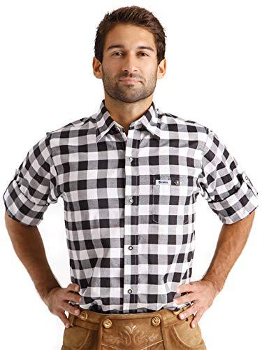 ALMBOCK Trachtenhemd Herren kariert - Slim-fit Männer Hemd schwarz-weiss kariert - Karo Hemd aus 100% Baumwolle in den Größen S-XXXL