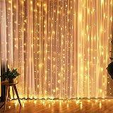 Cortina de Luces LED, KASTEWILL 3 * 3M 300LEDs luces de Navidad al aire libre con 8 modelos de lluminación, impermeable IP44 para la decoración de fiestas/bodas/Navidad (tono blanco cálido)