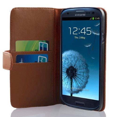 Cadorabo Custodia Libro per Samsung Galaxy S3 / S3 Neo in Marrone Castagno - con Vani di Carte e Funzione Stand di Similpelle Fine - Portafoglio Cover Case Wallet Book Etui Protezione