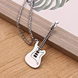 JSBVM Colgante clásico retro con personalidad de moda Mini collar de guitarra eléctrica Mini collar de instrumento musical colgante de fiesta