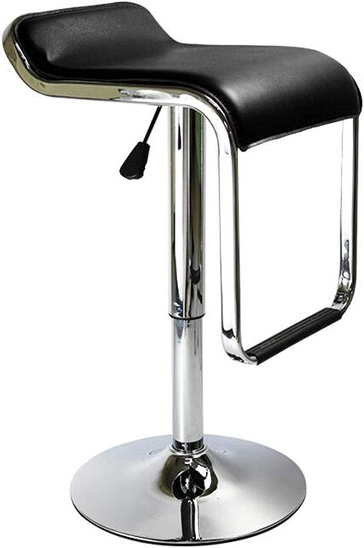 QIDI Bar Chair 360° redation Adjustable Height Leather Metal Nordic High Stool Household - 41 X 41 X 61-81cm (color   Black)
