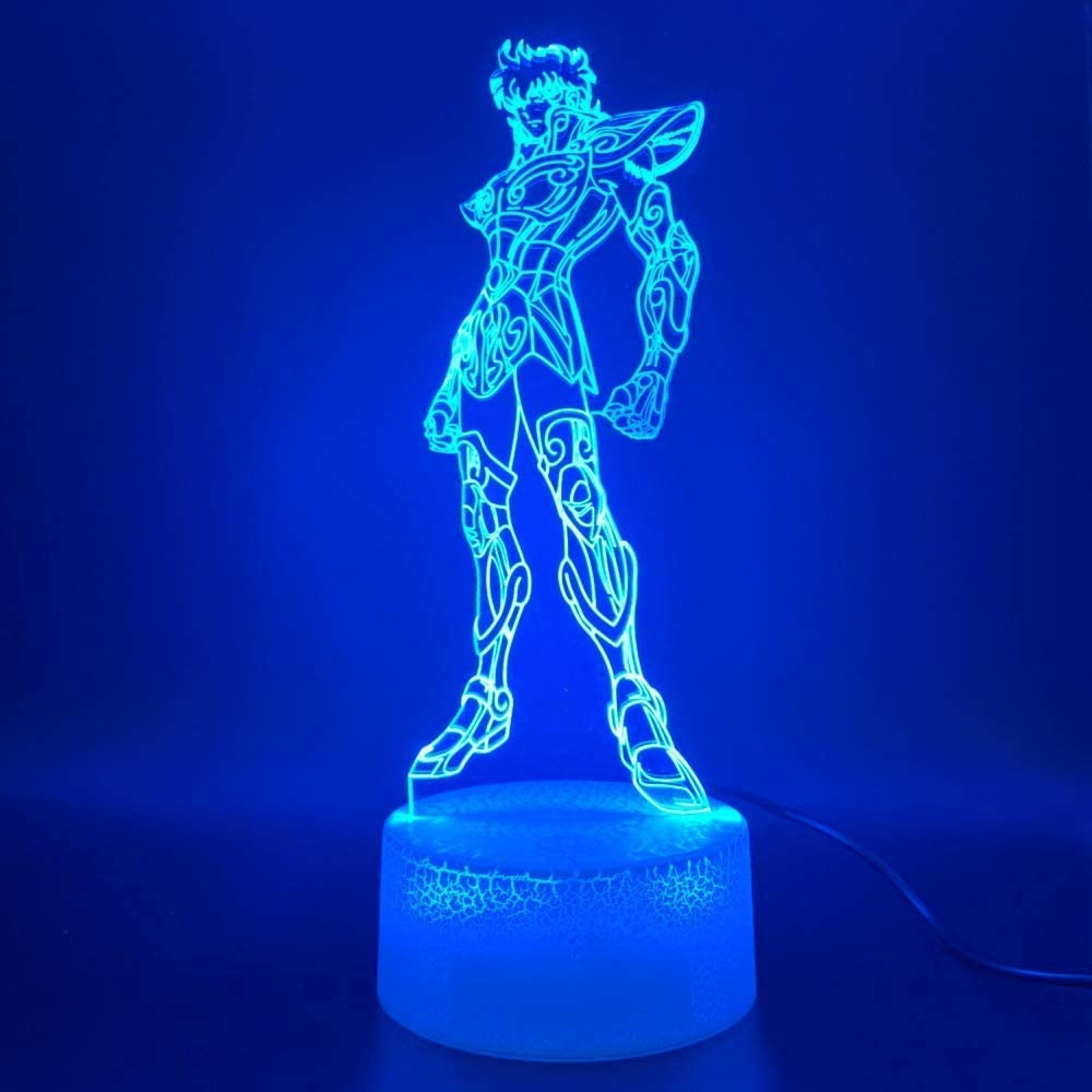 Kwpoz , luce notturna a led 3d anime saint seiya figura touch sensor light Uyd+aw-jv1947