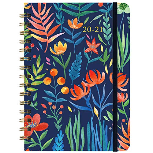 Agenda 2020 2021, Plan Semanal, Desde Julio de 2020 hasta Junio de 2021, Tapa Dura Floral Azul Oscuro, Encuadernación de Alambre Doble, 21,5 x 15,5 cm