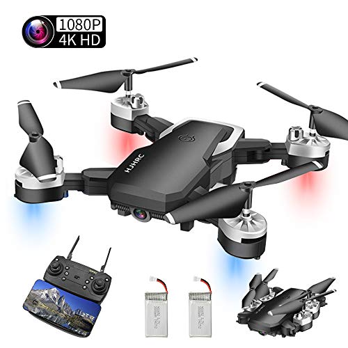 Drohne Mit Kamera HD, 4K Drohne Mit 1080P HD WiFi FPV Live Übertragung, 20 Minuten Lange Akkulaufzeit&App-Steuerung&One Key Start/Landung&Headless Modus&Gestensteuerung& Live Video(Zwei Batterien)