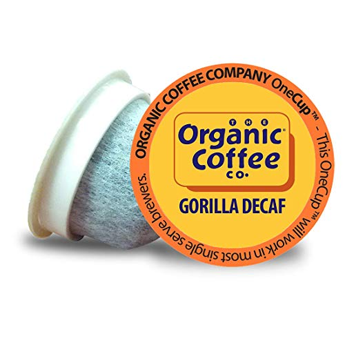 The Organic Coffee Co. Gorilla DECAF 80 Ct Natural Water Processed Medium Light Roast Compostable Coffee Pods, K Cup Compatible including Keurig 2.0