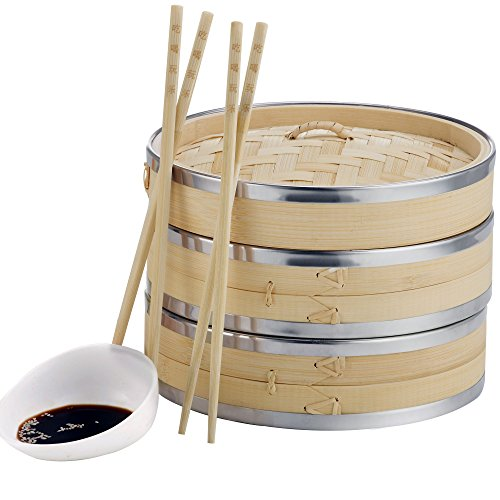 VonShef Premium 2 Tier Bamboo Steamer with Stainless Steel Banding Includes 2 Pairs of Chopsticks and 50 Wax Steamer Liners, Perfect For Steaming Dim Sum Dumplings Buns Vegetables Fish Rice, 10 Inches