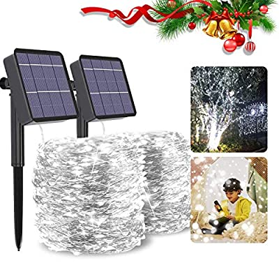 Mega-Loopolis 2-Pack 80Ft 480 LED Fairy Solar String Lights, Waterproof & Durable Twinkle String Lights with 8 Modes for Outdoor/Indoor, Starry Rope Lights for Party, Wedding, Christmas,Patio,Garden