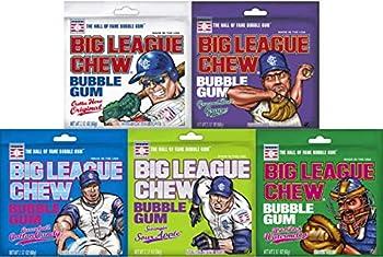 Big League Chew Bubble Gum Variety Pack 5 Great Flavors With Cotton Candy Sour Apple Grape Original & Watermelon