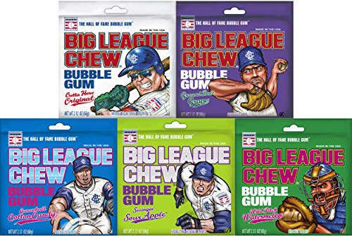 Big League Chew Bubble Gum Variety Pack 5 Great Flavors With Cotton Candy, Sour Apple, Grape, Original, & Watermelon